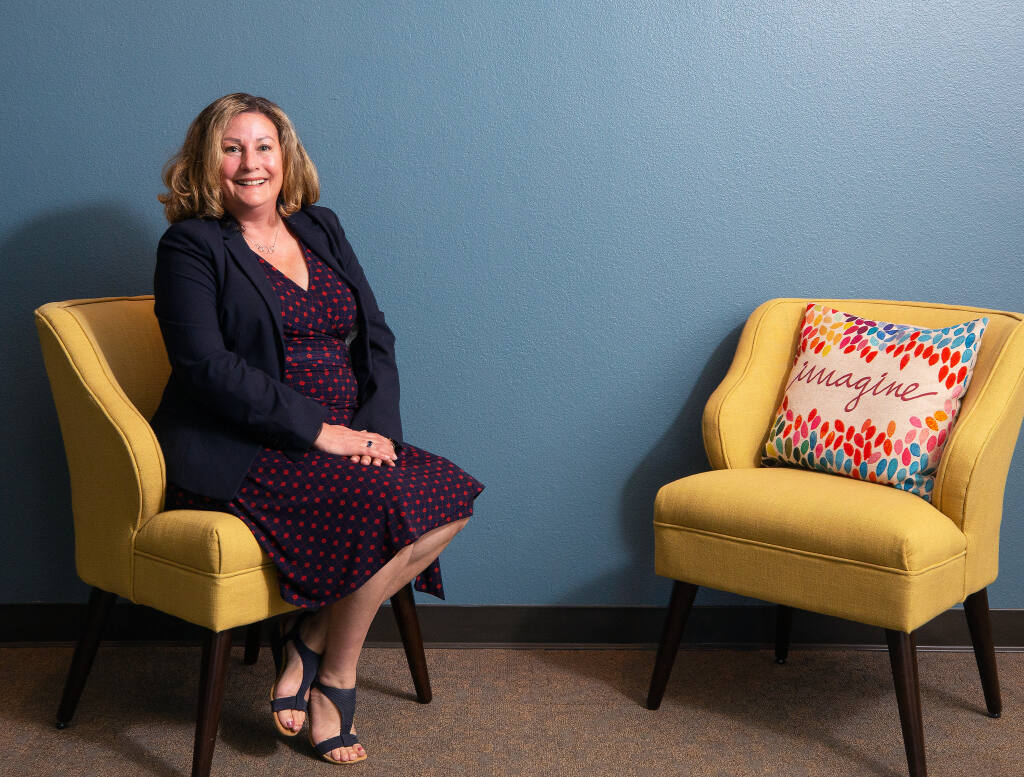 Program director Dr. Lisa Hirsch poses for a portrait at the Elizabeth Morgan Brown Center, a One Mind ASPIRe Clinic where mental health services are provided by Aldea Children and Family Services and Buckelew Programs in Santa Rosa, California, on Saturday, September 19, 2020. (Alvin A.H. Jornada / The Press Democrat)