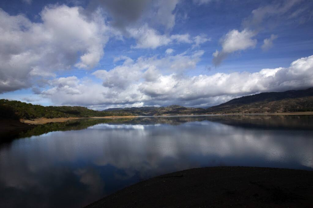 Lake Mendocino water managers will impound up to 3.8 million extra gallons of water this winter in the first ever test of a program that relies on advanced weather forecasting. (photo by John Burgess/The Press Democrat)