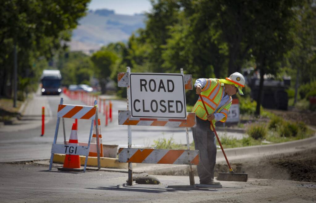Petaluma, CA, USA._Monday, June 10, 2019. Road work continues on Sonoma Mountain Road. (CRISSY PASCUAL/ARGUS-COURIER STAFF)