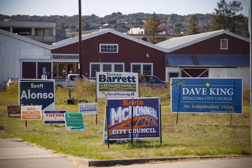 Campaign signs in Petaluma for various races. Competitive races up and down the ballot has meant a flood of advertising. Most of the signs will come down the day after the election.(CRISTINA PASCUAL/ARGUS-COURIER STAFF)