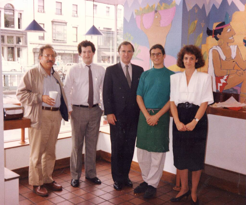 Sklar (second from left) with co-founder of Burrito Bros., then Gov. Jerry Brown, and Brown's aides in 1990-courtesy photo