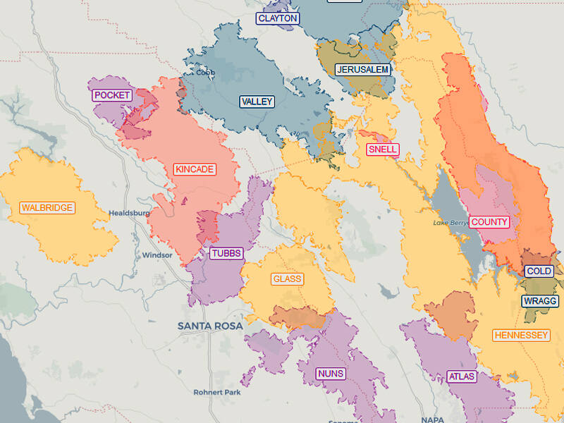 A screenshot of an interactive Press Democrat map showing the major wildfires that have burned in Sonoma, Napa, Lake and Mendocino counties since 2015. (The Press Democrat)