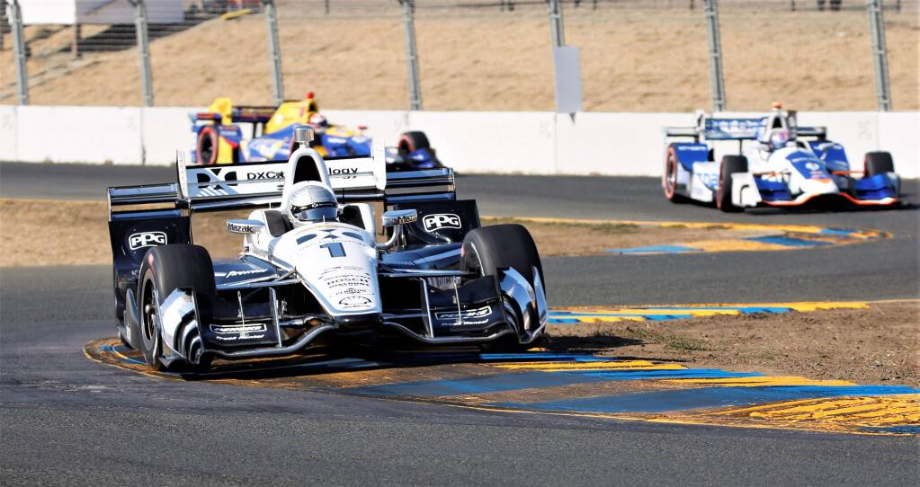 Simon Pagenaud navigates through the 'S' turns at last year's IndyCar season finale at Sonoma Raceway on Sunday, Sept. 17, 2017. (WILL BUCQUOY/ FOR THE PD)