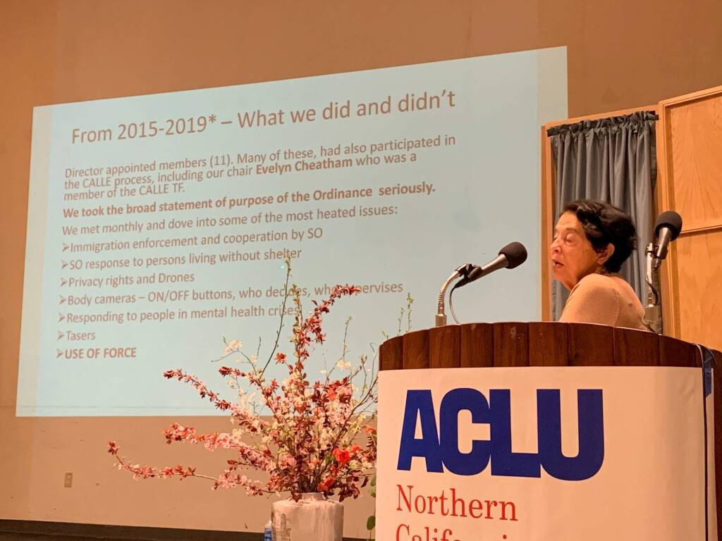 Joanne Brown, a former member of the Community Advisory Council, the community arm of Sonoma County's independent auditor's office, speaks at a forum about oversight of law enforcement agencies held at the Glaser Center in Santa Rosa Saturday, Jan. 29, 2020. (Nashelly Chavez/ The Press Democrat)