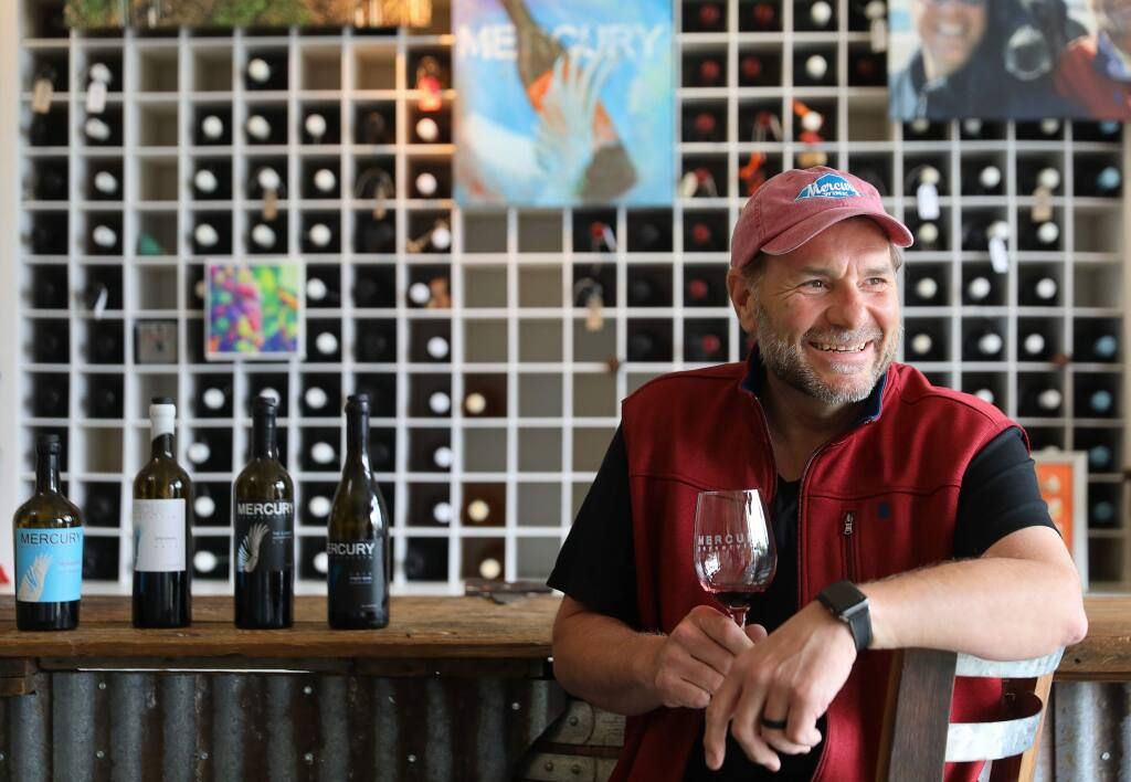 Mercury Wine owner/winemaker Brad Beard pictured in his Geyserville tasting room. (CHRISTOPHER CHUNG/PD)