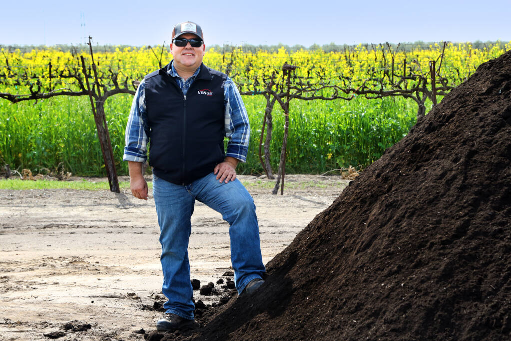 Tony Rose is the vineyard manager at the Michael David Winery in Lodi. Recology delivers compost there from its North Bay recycling centers. (Larry Strong photo)