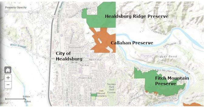 This map shows Healdsburg Ridge, Callahan and Fitch Mountain preserves. The California Coastal Conservancy approved a $414,000 grant that will be used for fire mitigation in each preserve. (California Coastal Conservancy)