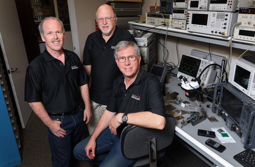 Pocket Radar co-founders Steve Goody, left, CEO, Grant Moulton, CTO, and Chris Stewart, president and COO, are celebrating their company's 10-year anniversary. (Christopher Chung/ The Press Democrat)