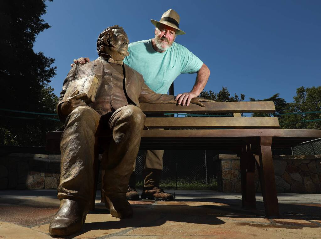 Sculptor Jim Callahan will formally unveil his statue of Sonoma city founder general Mariano Vallejo in the town Plaza this Saturday. (John Burgess/The Press Democrat)