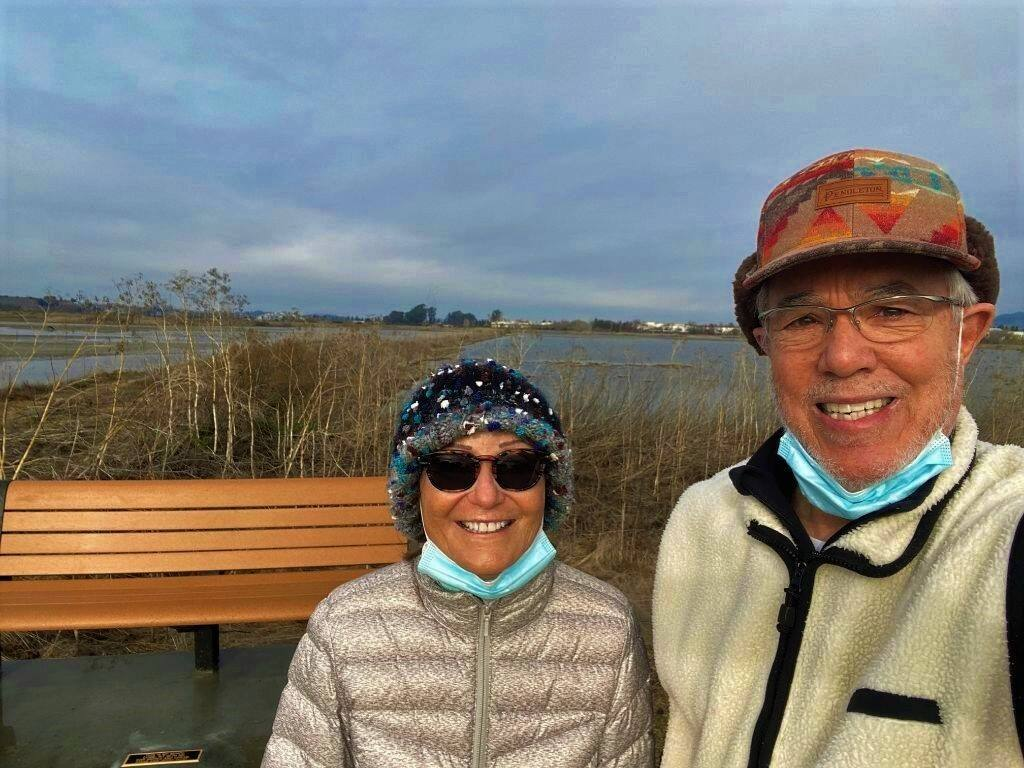 DREAM COME TRUE: Diane and Jerry Pozo at the recently installed bench at Shollenberger Park.