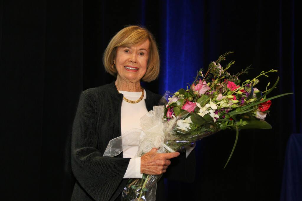 Connie Codding accepts the Doyle Philanthropy Award at North Bay Business Journal's Community Philanthropy Awards, held at Hyatt Vineyard Creek Hotel & Spa in Santa Rosa on March 31, 2017. (JEFF QUACKENBUSH / NORTH BAY BUSINESS JOURNAL)