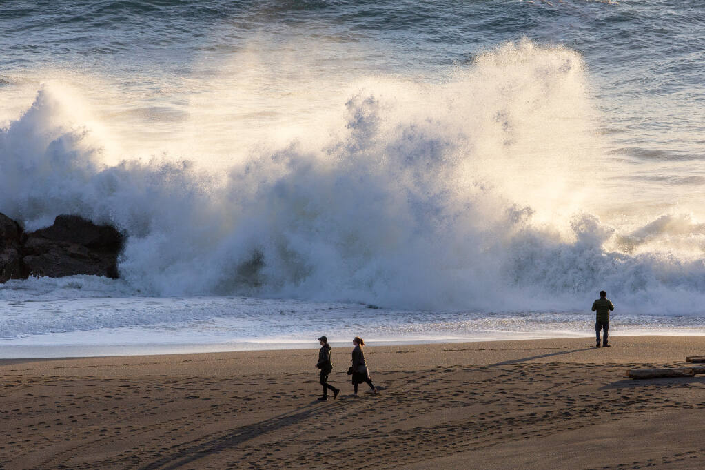 Heavy surf crashes against the rocks at Jenner Beach, near the mouth of the Russian River in Jenner, on Thursday, Jan. 7, 2021. (Alvin A.H. Jornada / The Press Democrat)