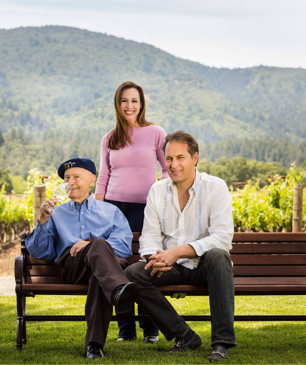 Miljenko Grgich, left, co-founded Grgich Hills Estate Winery in Napa Valley in in 1977 and named his daughter Violet president in November 2017. Ivo Jeramaz, right, is vice president and winemaker. (courtesy of Grgich Hills Estate)