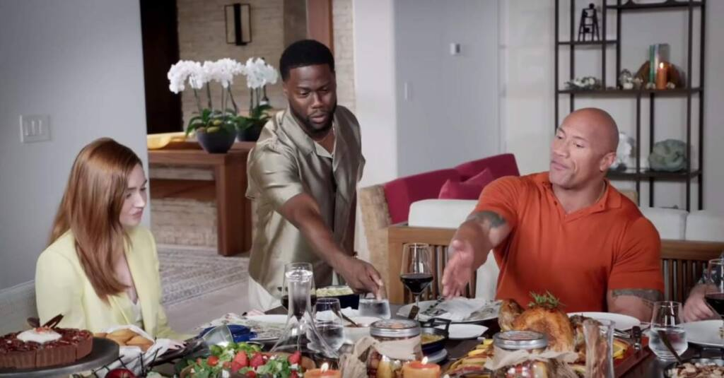 Karen Gillan, Kevin Hart and The Rock co-star in the video 'A Very Jumanji Thanksgiving,' which went viral after being posted on YouTube on Thanksgiving.(JablinskiGames/YouTube)