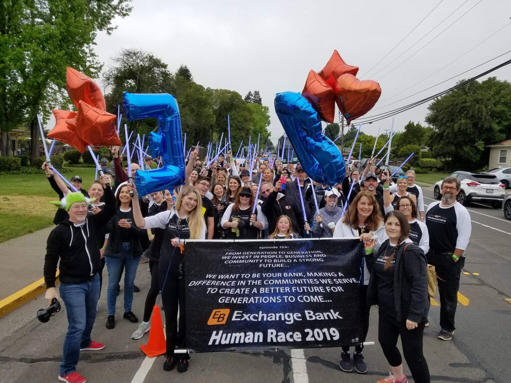 Part of Exchange Bank's volunteerism focus is employee participation in the annual fundraiser Human Race. (courtesy photo)