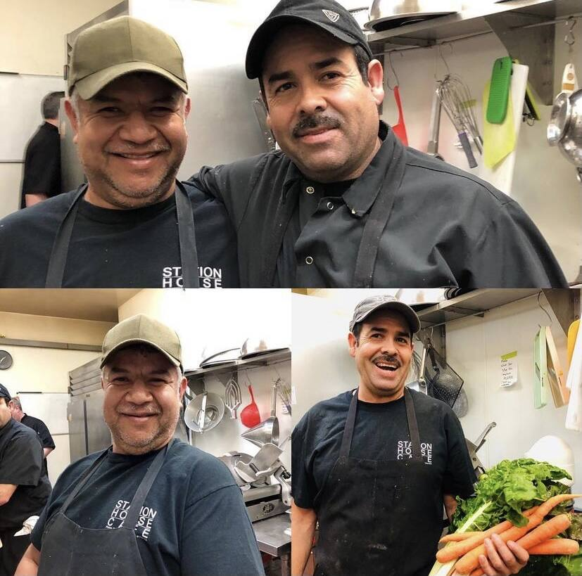 Employees at Station House Cafe in Marin County can receive a bonus if someone they refer is hired by the restaurant. On left is Armando Gonzales with Pablo Mata, both cooks. (Mia Quezada Photo)
