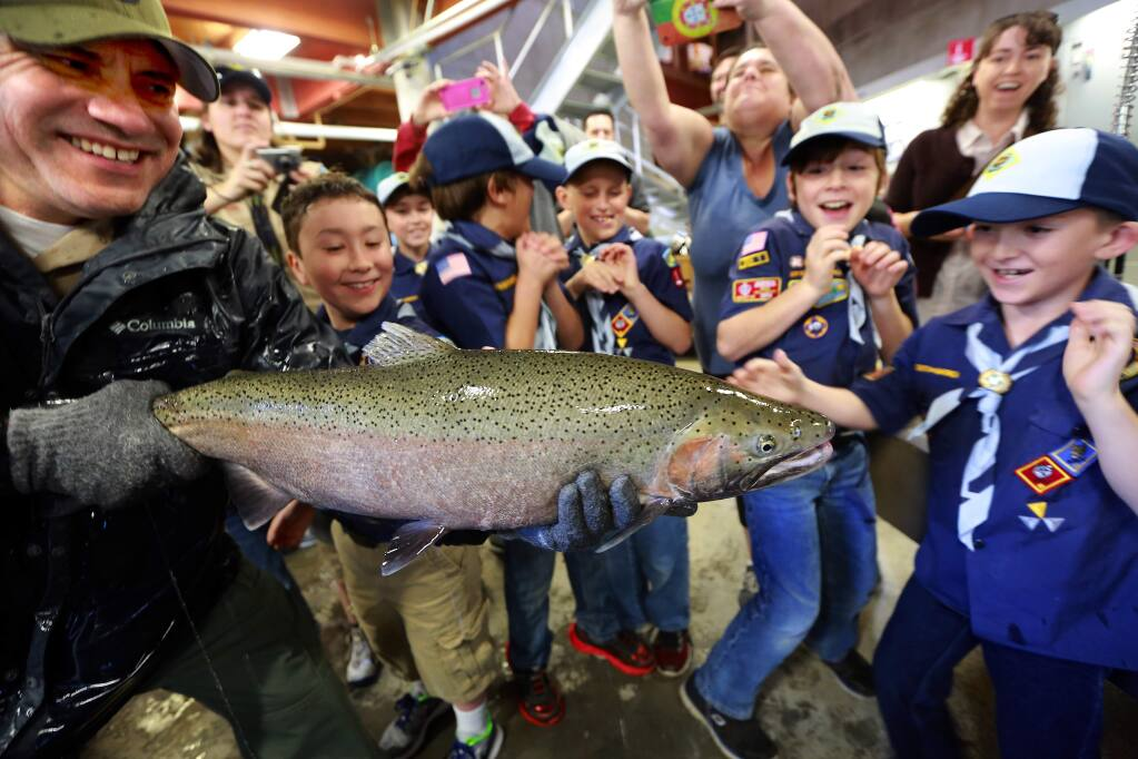 Danny Garcia, left, holds a squirming Steelhead trout for Troop 192 of Napa at the 2016 Lake Sonoma Steelhead Festival at the Milt Brandt Visitors Center on Saturday. (JOHN BURGESS / The Press Democrat)