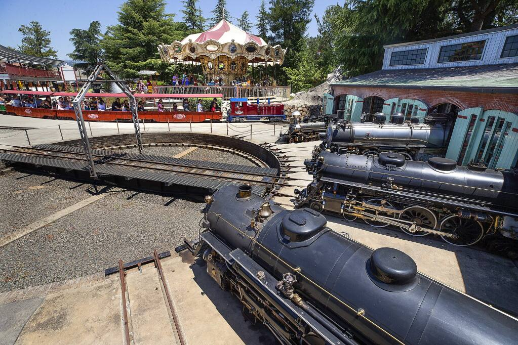Ride the steam and diesel engines along the 1-mile track at TrainTown in Sonoma. (photo by John Burgess/The Press Democrat)