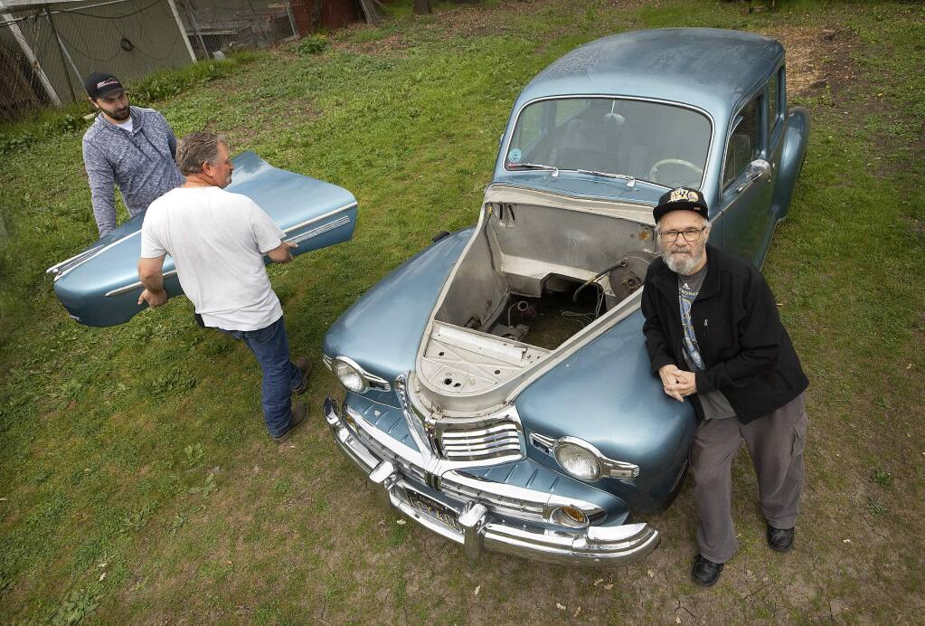 Denis Quinn, 73, exchanged an old truck for $10,000 worth of work on his 1947 Lincoln Sedan by Santa Rosa mechanic Suede Barganski back in 2016. Quinn's family found the car, without an engine, in a field in Penngrove 3 months ago and Barganski has been arrested. (Photo by John Burgess/The Press Democrat)