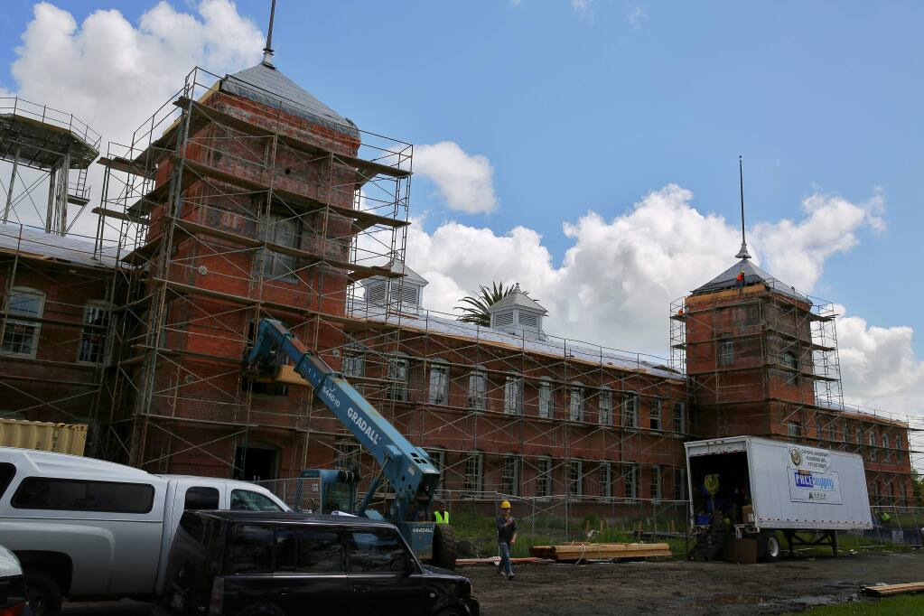 Petaluma's old silk mill is being renovated to become the new Hampton Inn Petaluma. (Christopher Chung/ The Press Democrat)