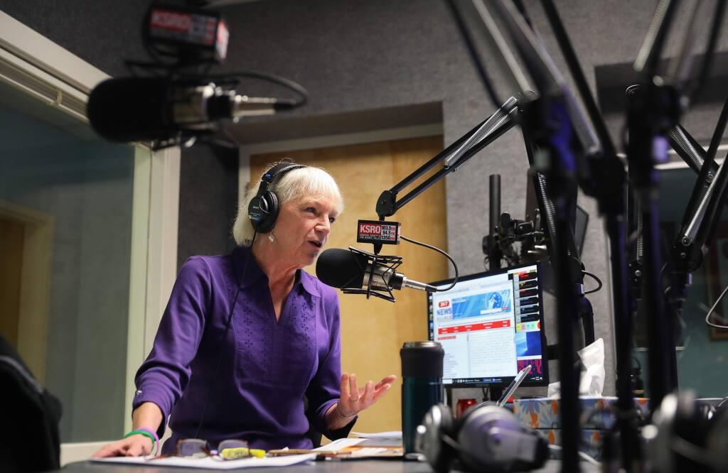 Pat Kerrigan hosts the Sonoma County Morning News program at KSRO, in Santa Rosa on Friday, January 24, 2020. (Christopher Chung/ The Press Democrat)