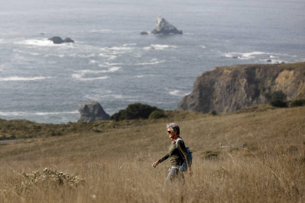 Lena Chyle of Jenner hikes at the Jenner Headlands Preserve on Thursday, November 15, 2018 in Jenner, California . (BETH SCHLANKER/The Press Democrat)