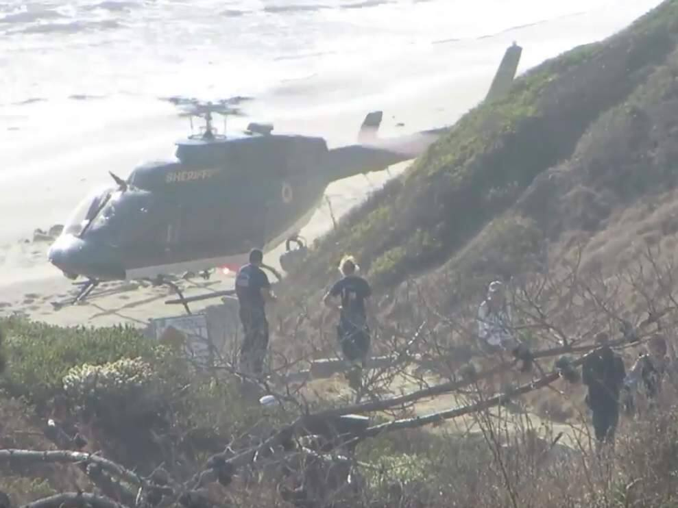 A Santa Rosa teenager on an outing with friends at Doran Beach was seriously injured in a swimming accident, Sunday, Sept. 24, 2017. The Sonoma County sheriff's helicopter picked up the injured swimmer around 5 p.m. (VIDEO SCREENSHOT)