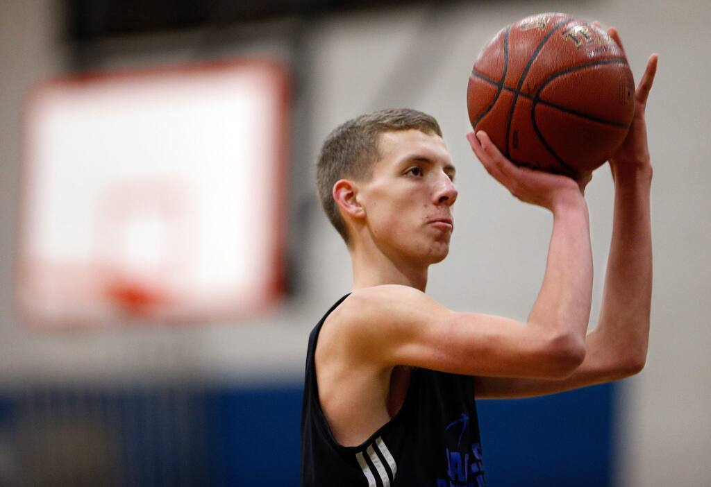 Christian Gillette shoots free throws during basketball practice at Rincon Valley Christian High School in Santa Rosa on Tuesday, Feb. 28, 2017. (Alvin Jornada / The Press Democrat)