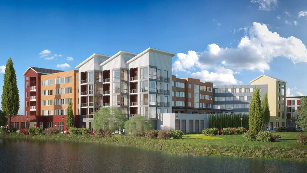 A rendering of the North River Apartment project in downtown Petaluma.