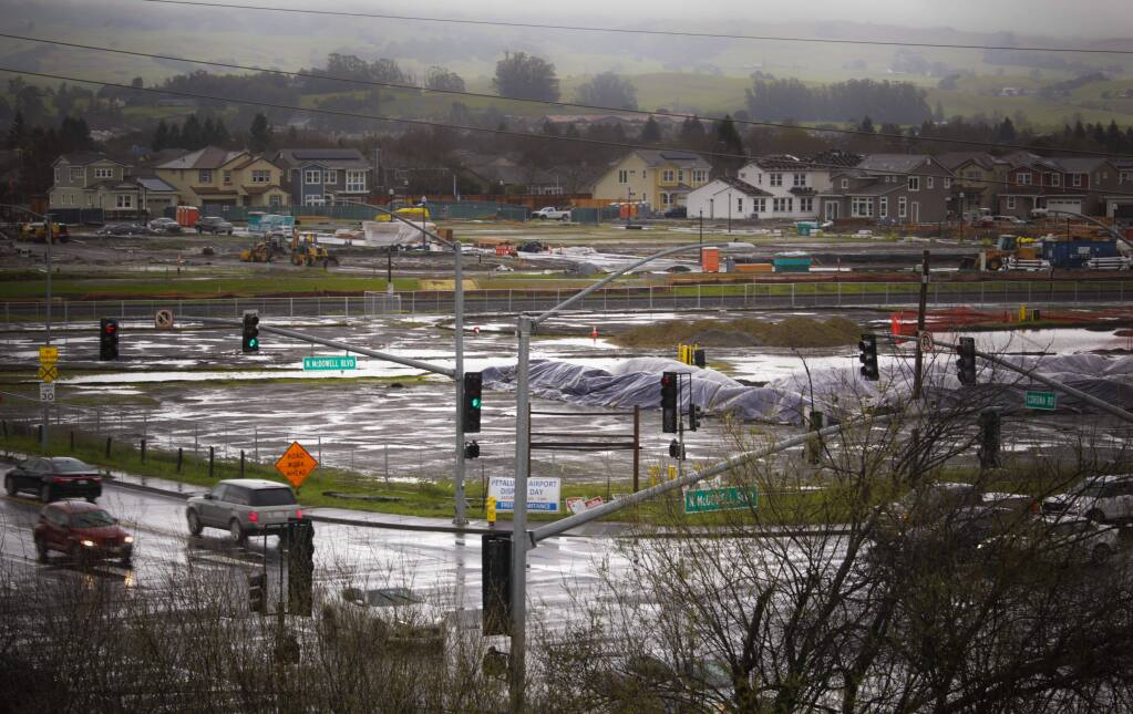 A view of the proposed Corona SMART station development on McDowell Boulevard in Petaluma, looking towards new construction at Brody Ranch, shot on Tuesday, February 26, 2019. (CRISSY PASCUAL/ARGUS-COURIER STAFF)