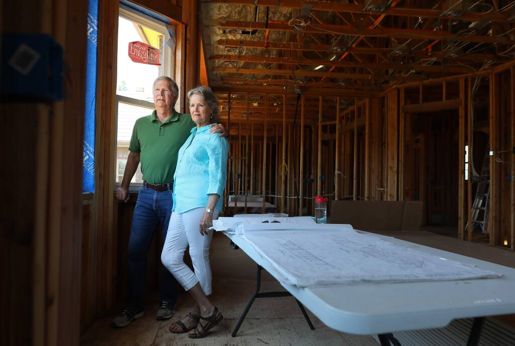 Tom and Wendy Schiff are negotiating with their insurance carrier, Safeco, for additional rental assistance until their Fountaingrove home rebuild is complete.(Christopher Chung/ The Press Democrat)