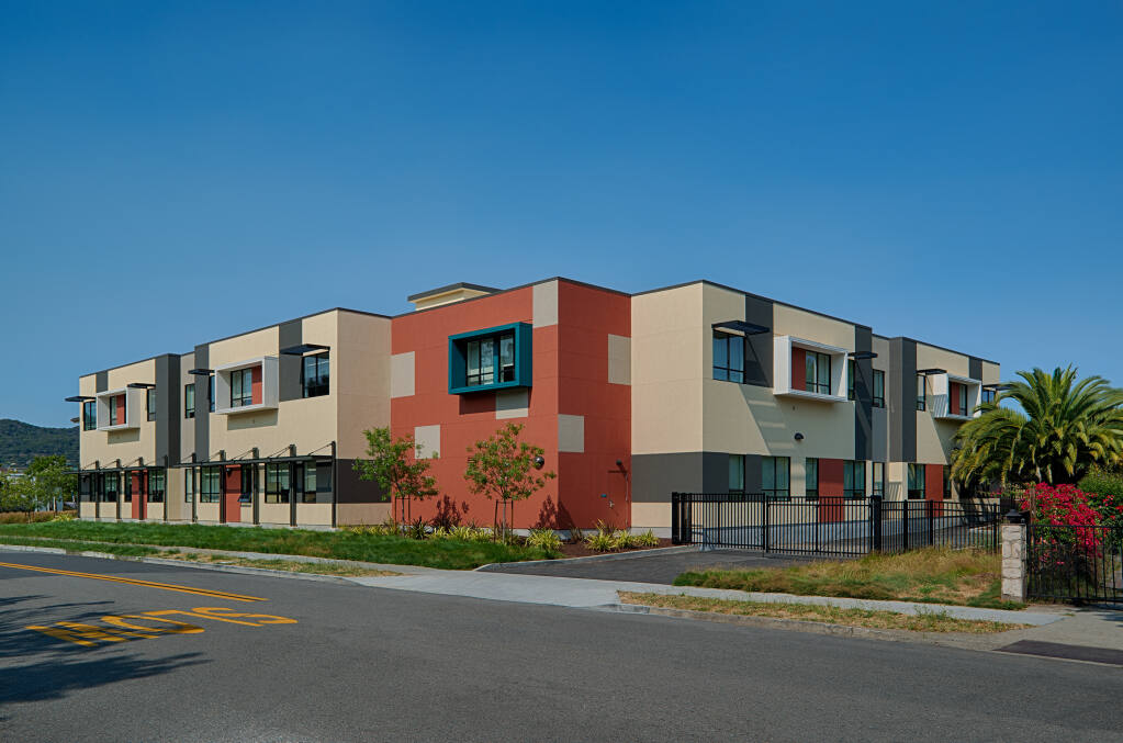 Exterior massing, finished and colors blend with the neighborhood surrounding Davidson Middle Schools new STEM facilities, seen here on July 15, 2020, in San Rafael. (Courtesy of Quattrocchi Kwok Architects)