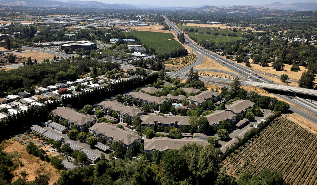 Vineyard Creek Apartments, July 16, 2021, at the intersection of Highway 101 and Airport Blvd. in Santa Rosa. (Kent Porter / The Press Democrat)