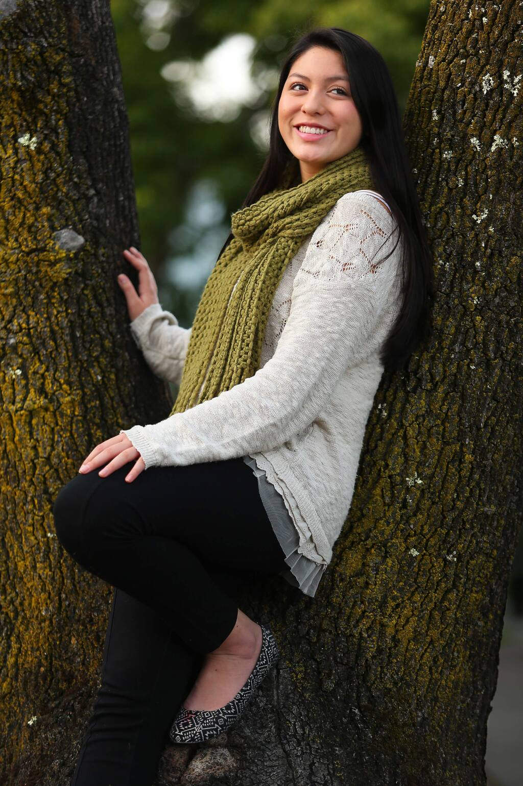 Sarah Almeyda, a senior at Windsor, is interested in youth environmental activism. As a member of the Global Student Embassy Club, she's helping to build a garden at Cali Calmecac.(Christopher Chung/ The Press Democrat)