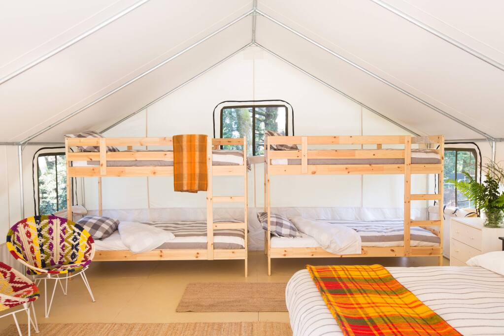 Rare for glamping properties, larger family tents at the Mendocino Grove come with queen and twin beds, or two sets of bunk beds (dogs are welcome, too). (COURTESY OF MENDOCINO GROVE)