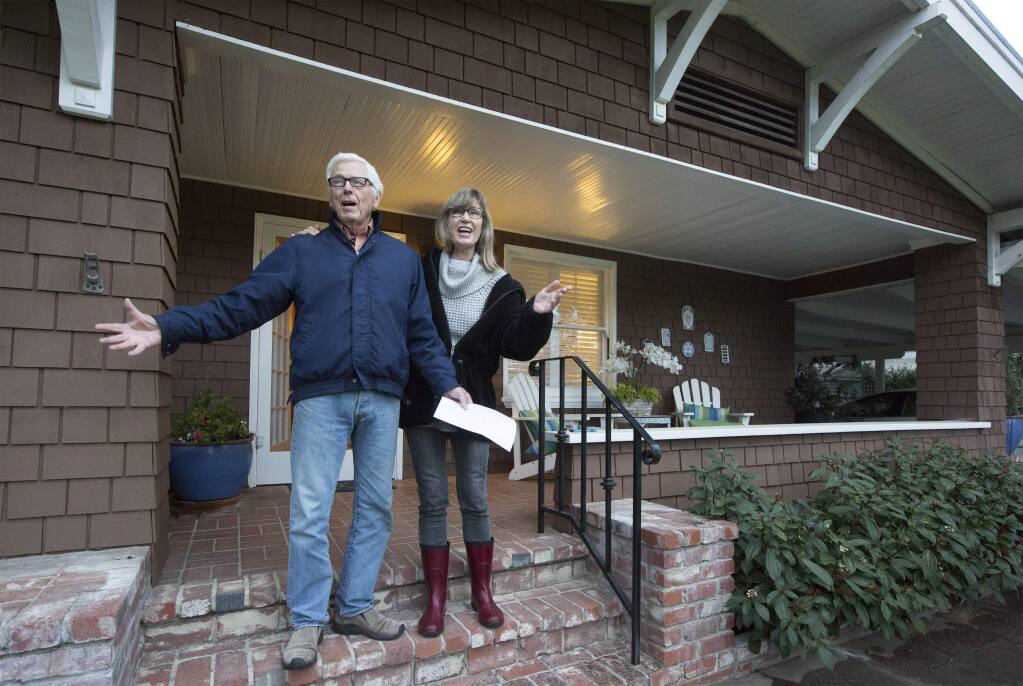 The Italians are singing from their balconies, and Sonomans are singing from their porches. Pamela and Fred Gilbert joined in with other singers on Second Street East in belting out 'Sweet Caroline'. (Photo by Robbi Pengelly/Index-Tribune)