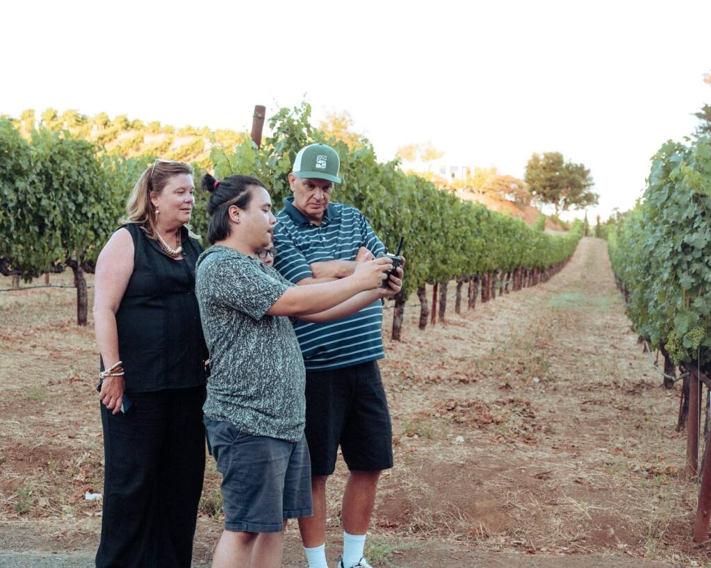 Tracy Reynes and Pio Valenzuela 'on set' at Benziger Vineyards.