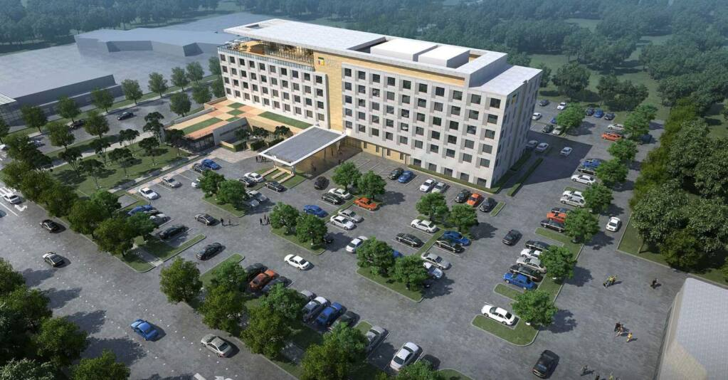A rendering of the Hyatt Place hotel proposal working its way through Sonoma County for approval of a use permit, with plans for completion in winter 2021. (courtesy of Lowney Architecture)