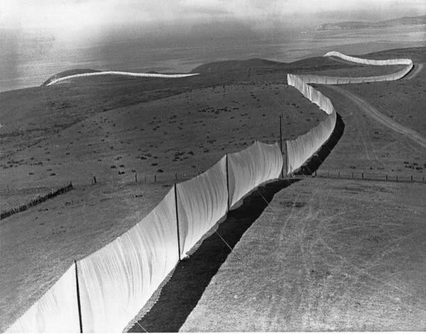 The best views of Christo's 'Running Fence' were from certain high points along the roads between Petaluma and Bodega Bay. The very best, however, were those taken from the air, such as this one by Sonoman Richard Rhodes.