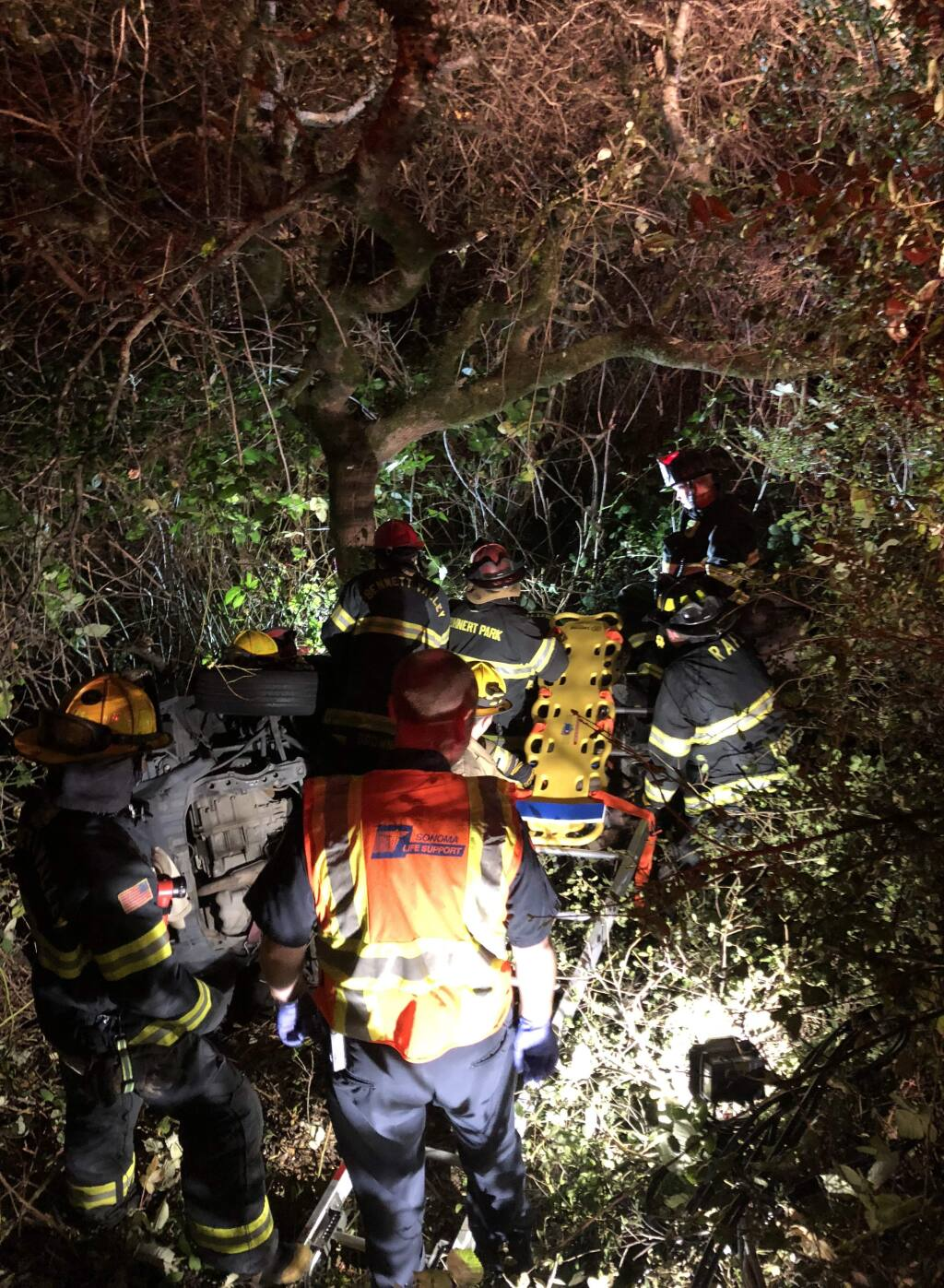 Emergency crews rescue a driver after a crash on Crane Canyon Road on Wednesday, Oct. 10, 2018. (COURTESY OF RANCHO ADOBE FIRE CAPTAIN JIMMY BERNAL)