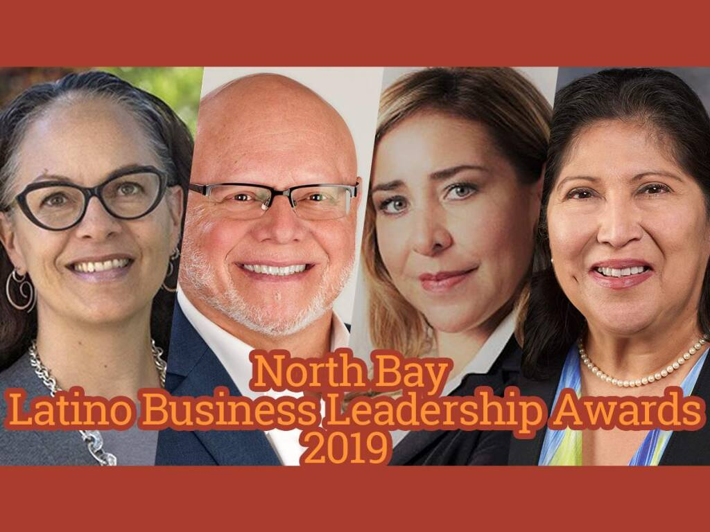 Chandra Alexandre of Community Action Marin, Rene Meza of Redwood Credit Union, Karin Alvarado of New Aspect Financial Services and Dorothy Rodella of Exchange Bank are among the 2019 winners of North Bay Business Journal's Latino Business Leadership Awards.
