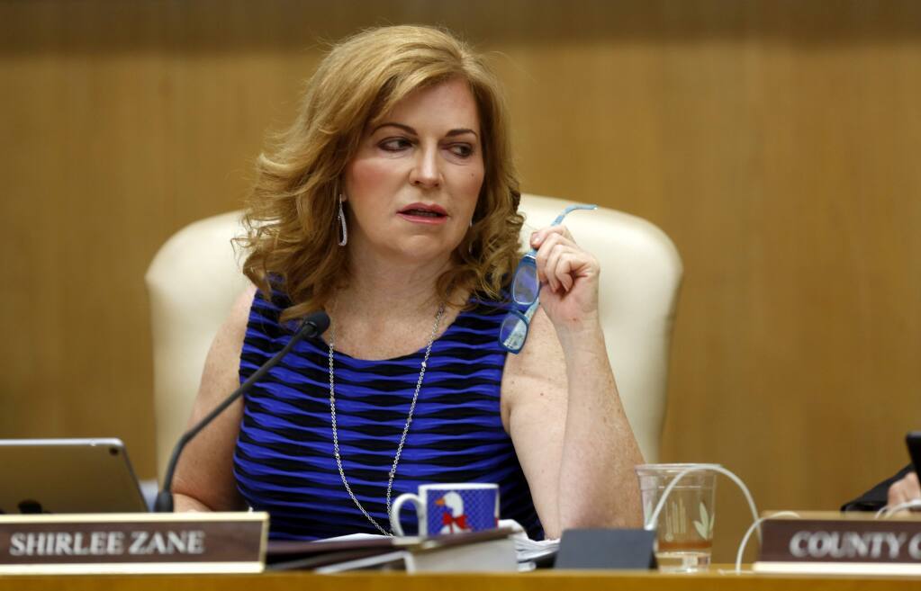 3rd District Supervisor Shirlee Zane attends the Sonoma County Board of Supervisors meeting in Santa Rosa on Tuesday, July 10, 2018. (Beth Schlanker/ The Press Democrat)