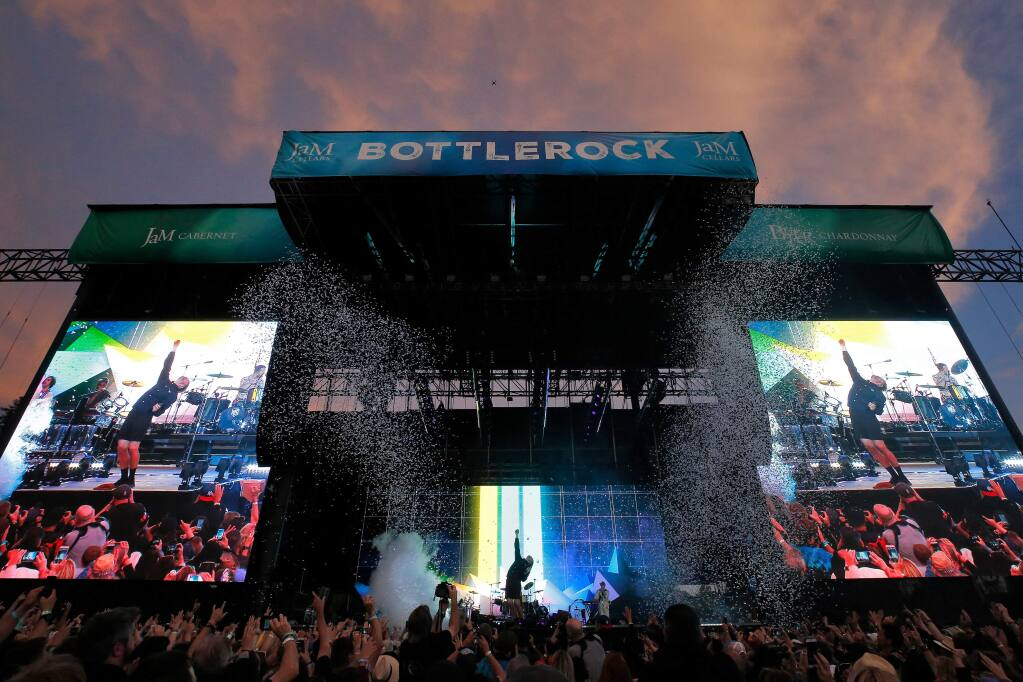 Confetti cannons fire as Imagine Dragons performs on the JaM Cellars Stage during opening day of BottleRock Napa Valley in Napa, California, on Friday, May 24, 2019. (ALVIN JORNADA/ PD)