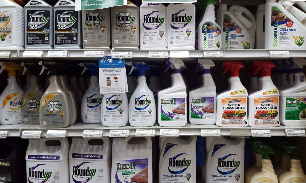 Display of RoundUp, a glyphosate weed killer compound heavily marketed and widely sold around the world. This display is at Friedmans' Sonoma store.
