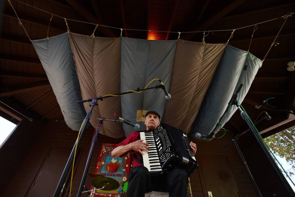 Michael Zampiceni, 69, of Hayward, performing during the 28th Annual Cotati Accordion Festival held Sunday at La Plaza Park in downtown Cotati. August 19, 2018(Photo: Erik Castro/for The Press Democrat)