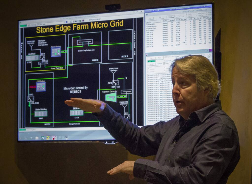 At Stone Edge Farm, a team of engineers is researching energy independence for all the properties needs. DC Systems CEO Doug Campbell, above, says it's the way of the future. (Photos by Robbi Pengelly/Index-Tribune)