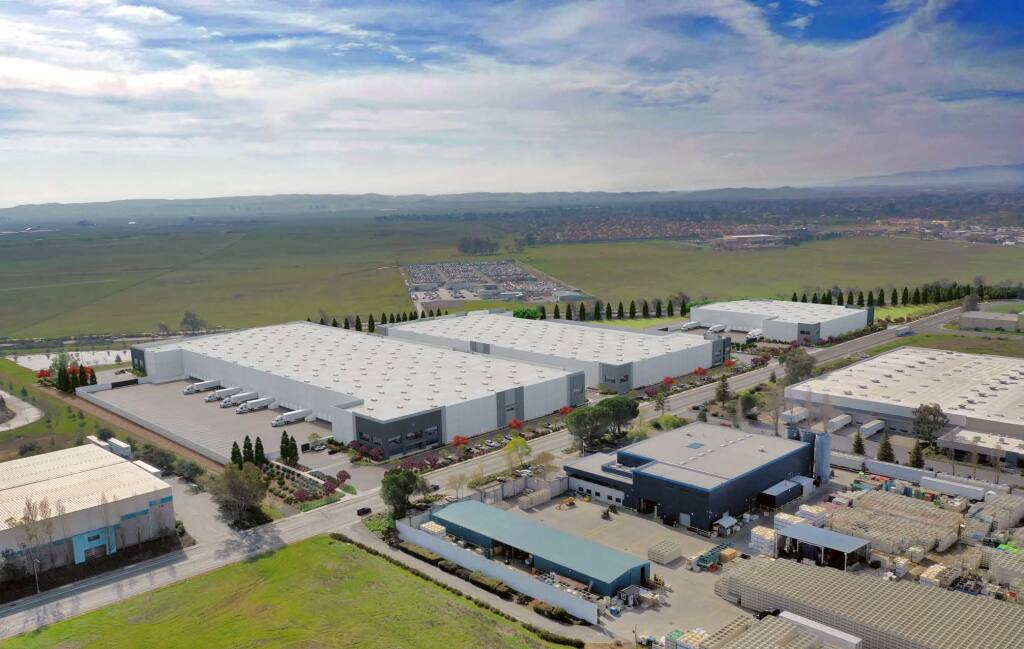Phelan Development's three-building, 496,825 Fairfield Commerce Center project on Huntington Drive in Fairfield. Hydrofarm, previously based in Petaluma, has preleased 175,000 square feet in one of the buildings, set for completion this year. (courtesy of JLL)