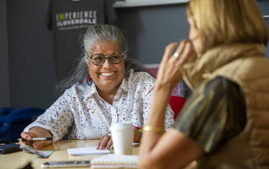 Cloverdale Mayor Marta Cruz meets with Neena Hanchett, the director of the Chamber of Commerce, about trying to attract a group to the city on Friday, May 21, 2021.   (John Burgess / The Press Democrat)