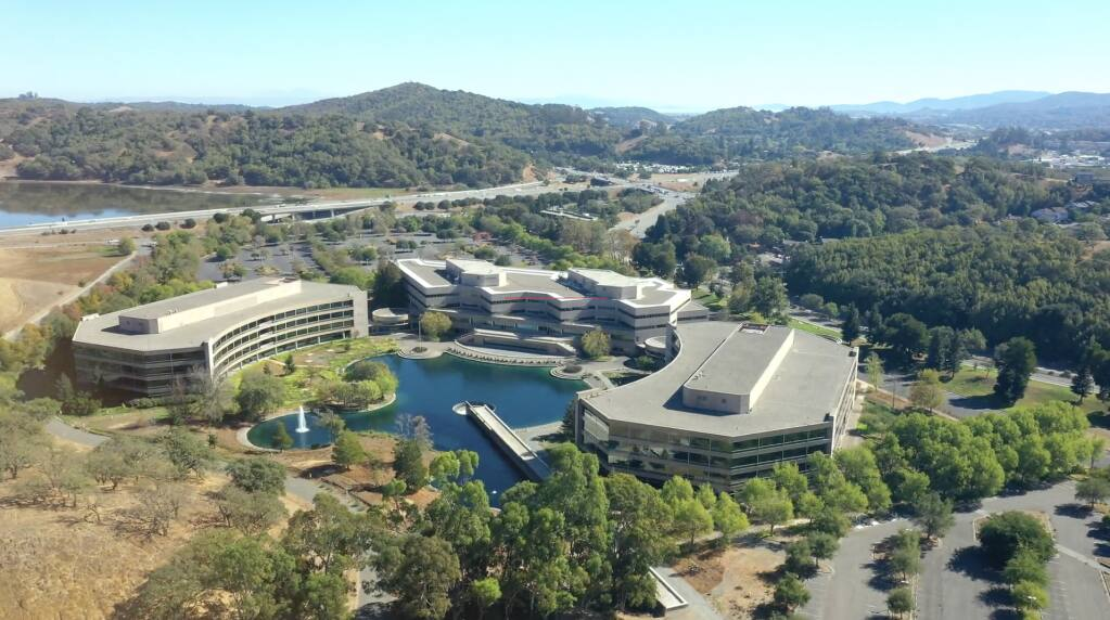 An undated aerial view from the northwest of the 63-acre former Fireman's Fund Insurance campus at 777 San Marin Drive in Novato. (777SanMarinCA.com)