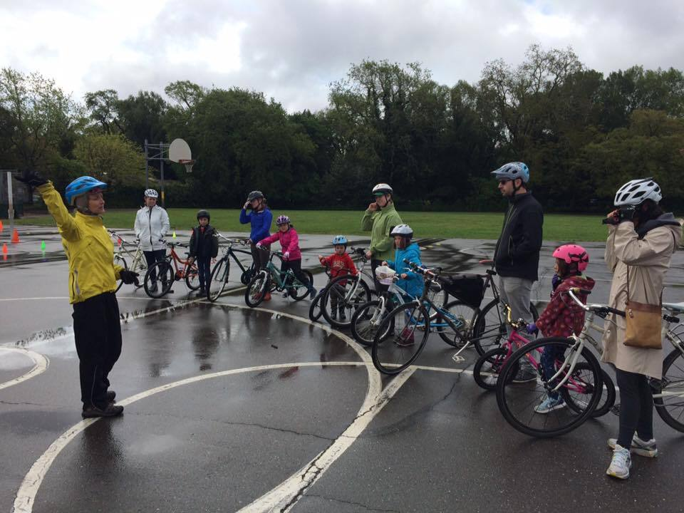 Instructors with the Sonoma County Bicycle Coalition teach safety first at the Santa Rosa French American Charter School to students in 2017. Photo provided.